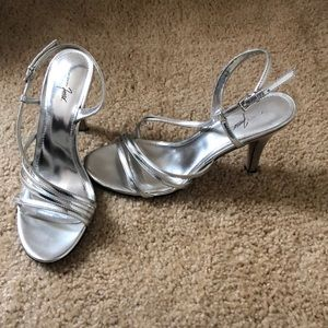 Silver High Heel Shoes, Size 9